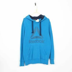 VINTAGE Reebok Big Logo Sweat à Capuche Sweat-shirt bleu | Medium M