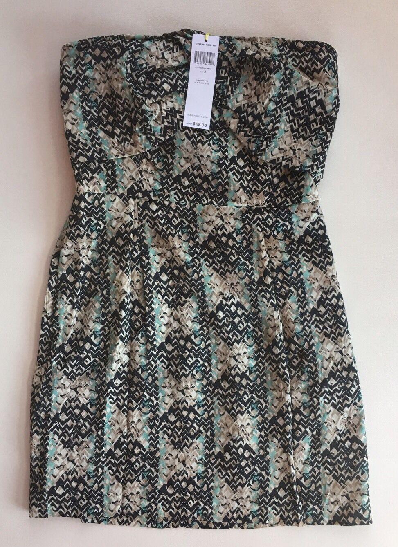 NWT Women's BCBGeneration Strapless Geometric Printed Dress-Size 2 Retail  118