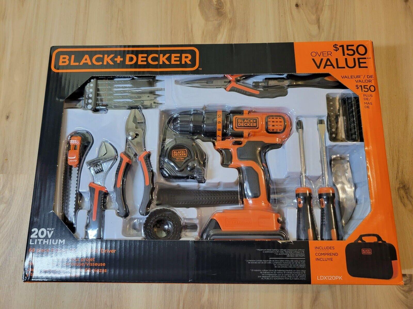 LDX120PK macadamistore Black & Decker 20V MAX Drill & 68 Piece Home Tool Kit - LDX120PK - FREE SHIPPING