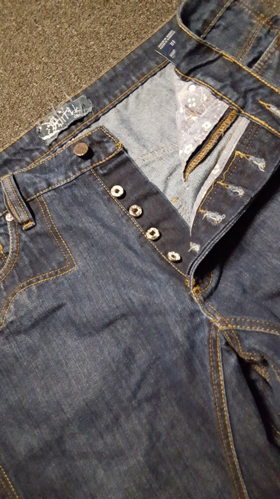 ANTIK Denim Men's bluee Stonewashed Denim Cotton Boot Cut Jeans Tag 38 Mexico