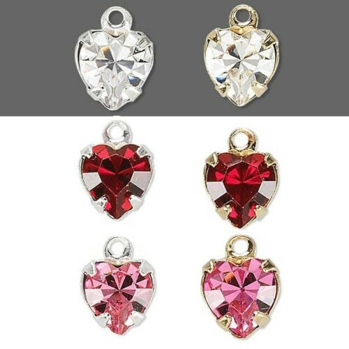 2 Little 9mm Heart Charms With Swarovski Rhinestone Crystals Plated Brass Metal