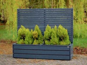 Pflanzkasten Holz Lang Mit Sichtschutz Höhe 180 Cm Anthrazit Grau