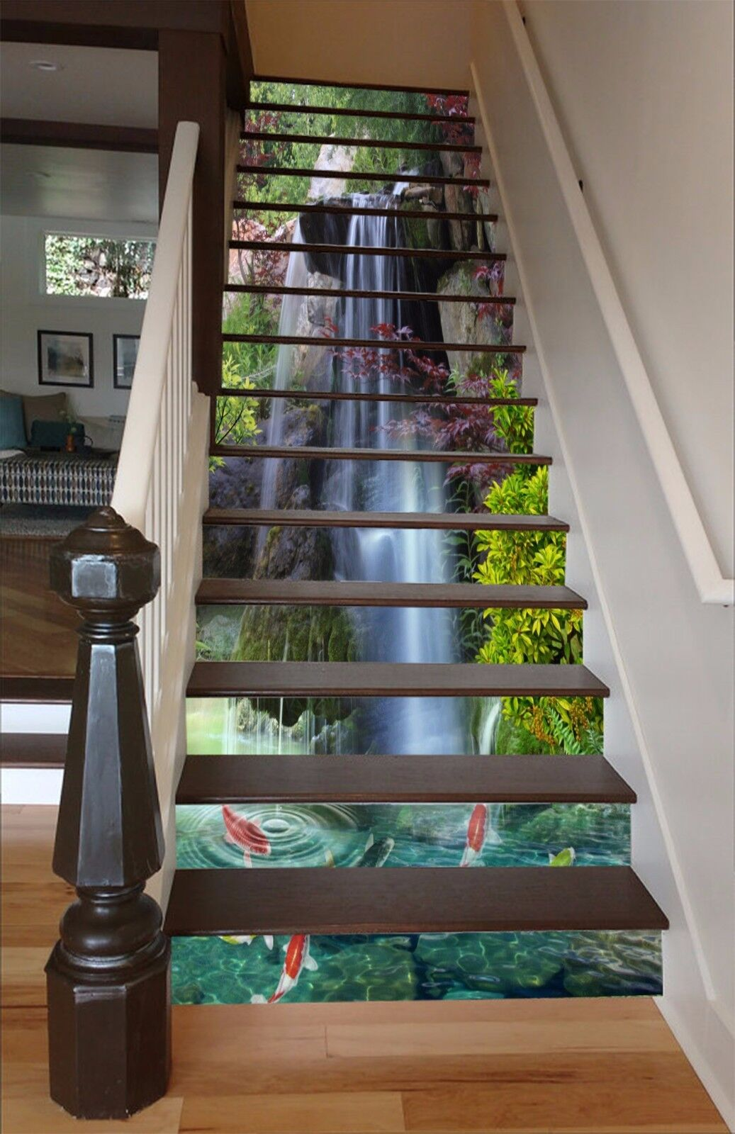 3D Falls Fishes 02 Stairs Risers Decoration Photo Mural Vinyl Decal Wallpaper US