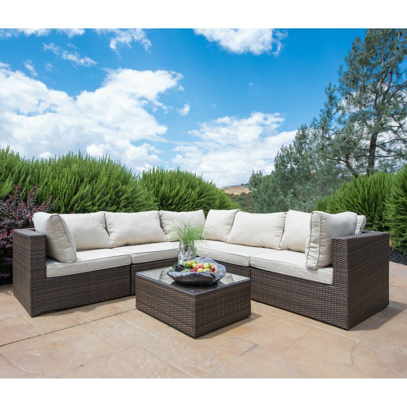 SUPERNOVA 6PC Patio Furniture Rattan Sofa Set Outdoor Wicker Sectional