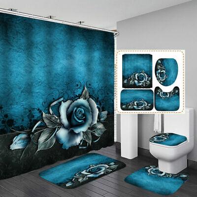 Big Shark Shower Curtain Bath Mat Toilet Cover Rug Blue Sea Bathroom Decor Set