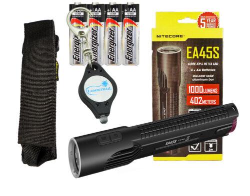 Key Chain Light Nitecore EA45S 1000 Lumen LED Flashlight w// 4x AA Batteries