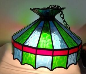 Details About Vintage Stained Gl Slag Ceiling Light Fixture Blue Green Red With Globe