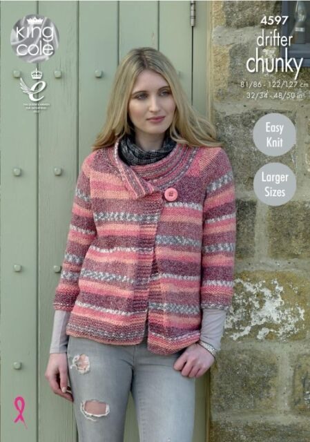 4214b38fd King Cole 4597 Knitting Pattern Womens Easy Knit Jackets in Drifter ...