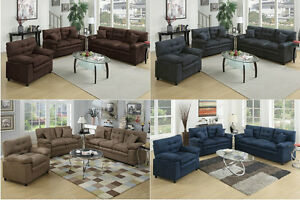 Sofa Loveseat & Chair 3Pc Sofa Set In 4 Colors Microfiber Living ...