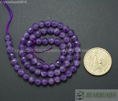 Natural Amethyst Gemstone Faceted Round Loose Beads 4mm 6mm 8mm 10mm 16'' Strand
