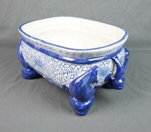 Vintage Porcelain Blue White Bonsai Plant Pot Large Chinese Planter Dolphin Legs