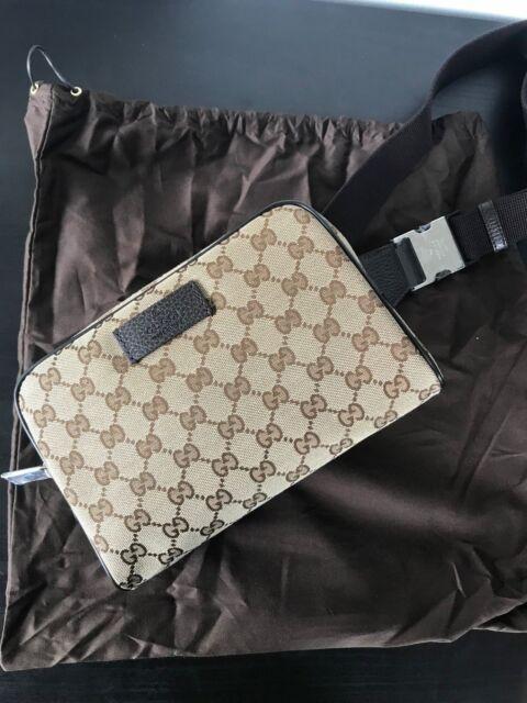 90451590c09 F45 GUCCI Authentic Waist Pouch Bumbag Belt Bag Fanny Pack Black ...