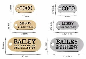 Dog-ID-Tag-Personalised-Oval-Pet-Cat-Name-Custom-Engraved-Key-Chain-Brass-Steel