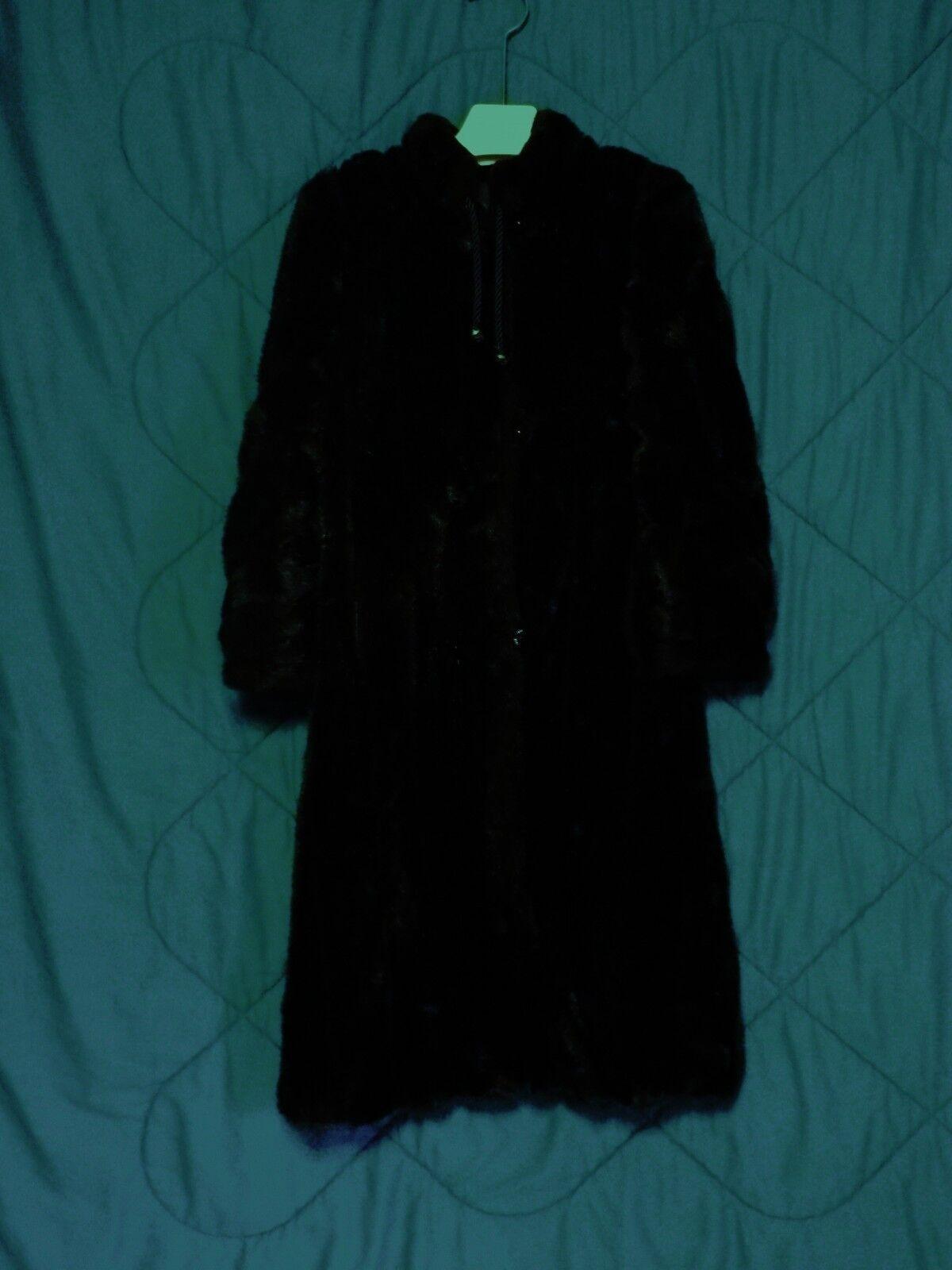 Vintage Hollywood Glam Hillmoor Royal Minke Faux Brown Mink Fur Mod Dress Coat