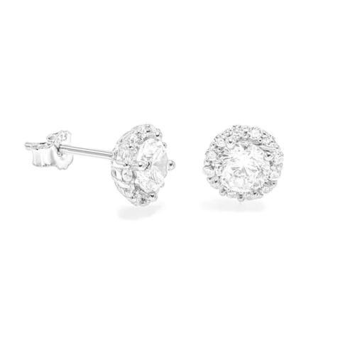 Argent Sterling 925 Diamant Halo Clous D/'Oreilles