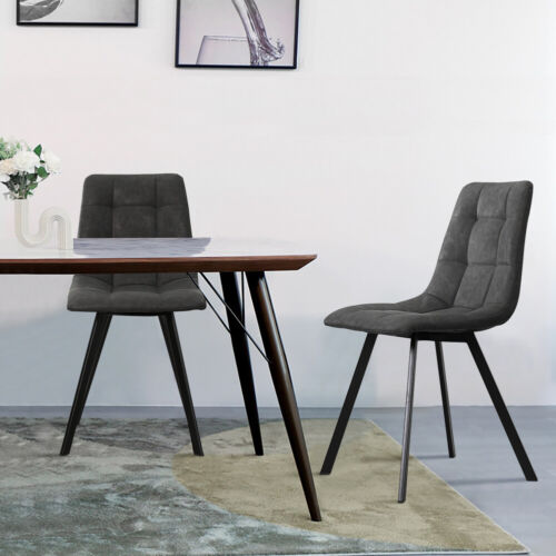 2PCS Dining Chairs Faux Suede Padded Seat Tower Metal Legs Home & Restaurant Set