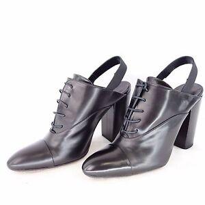 Slack-London-Zapatos-39-Negro-Cuero-natural-Botines-Talon-Abierto-NP-219-NUEVO
