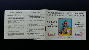 Tintin Kuifje Tim Décalcomanies version  bilingue 1954 Or Noir complet TBE