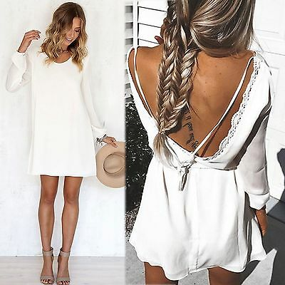Sexy Chiffon Women Casual Long Sleeve Evening Cocktail Party Short Mini Dress