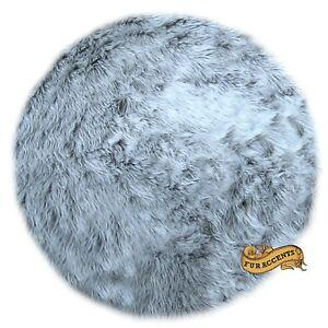 fur accents faux fur sheepskin area rug round silver gray shag 3 sizes ebay. Black Bedroom Furniture Sets. Home Design Ideas