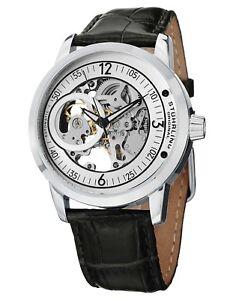 Stuhrling Delphi Saros Men's Automatic Skeleton Black Leather Watch 837.01