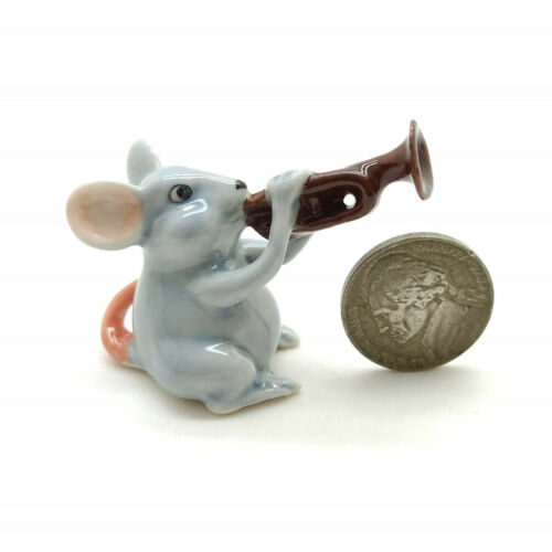 5 Rat Mouse Mice Figurine Ceramic Animal Statue Musical FG091