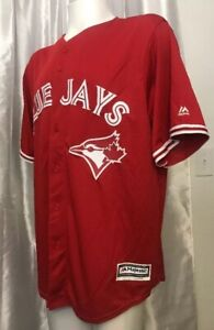 new-MLB-Sewn-2XL-Majestic-Toronto-Blue-Jays-CANADA-Day-Cool-Base-Red-Jersey-XXL