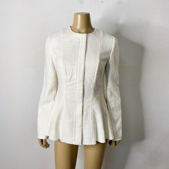 Theory Women's Size 6 Viscose Blend Canvas Tweed Movement Peplum Jacket