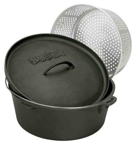 Bayou-Classic-8-qt-or-20qt-Cast-Iron-Dutch-Oven-w-Lid-Perforated-Aluminum-Basket