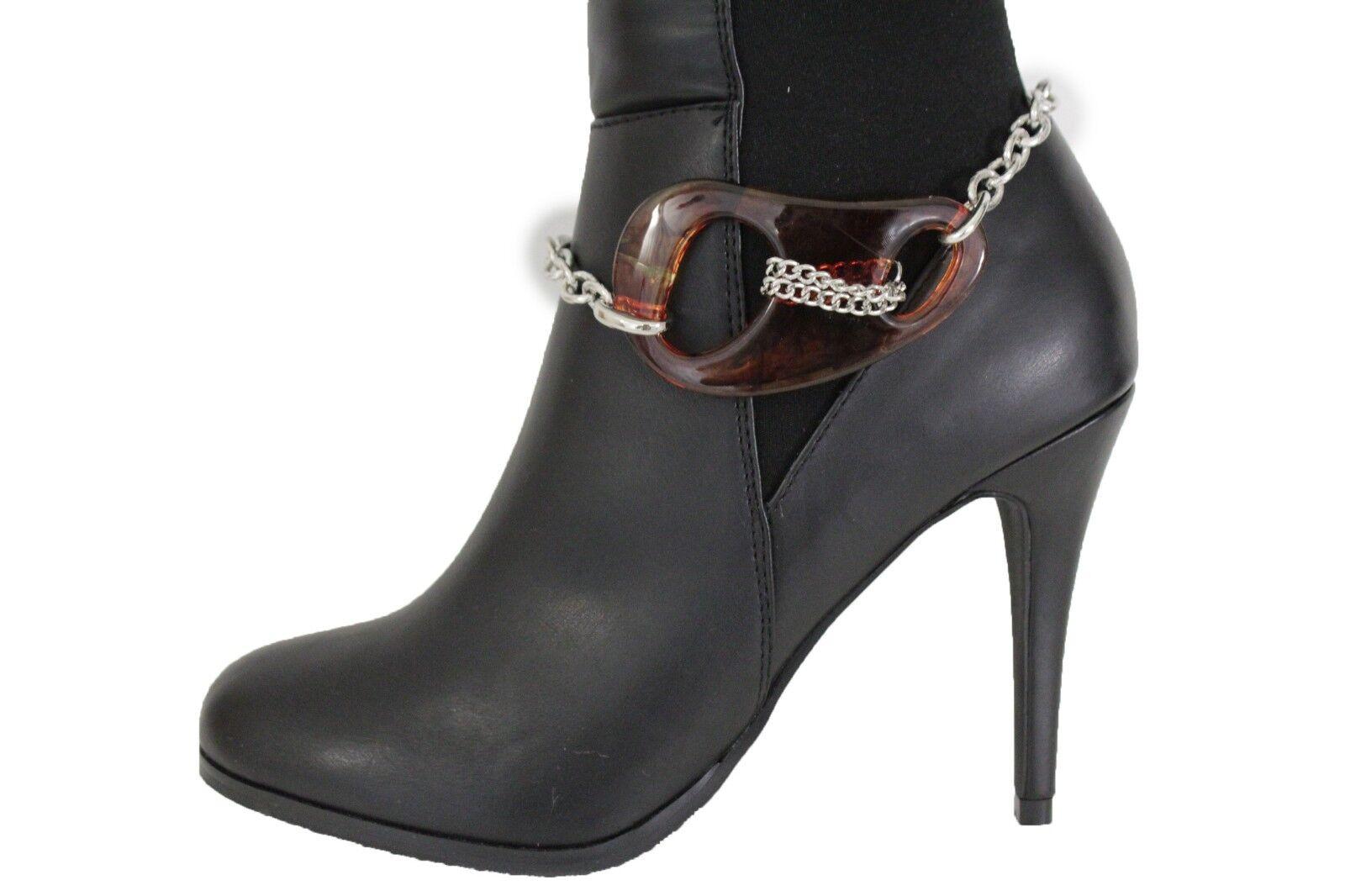 Women Silver Metal Chain Boot Bracelet Anklet Shoe Charm Brown Chicago Bean IL