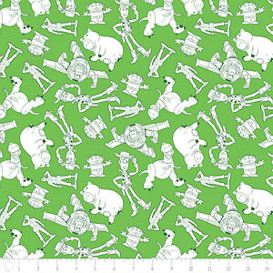 Toy-Story-Characters-Outlines-Woody-Buzz-Lightyear-cotton-fabric-by-the-yard