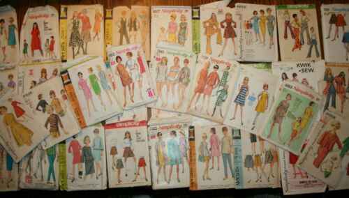 36 VINTAGE SEWING PATTERNS 1960'S RETRO, GREAT STYLES ALL SIZES & MFG WOMENS