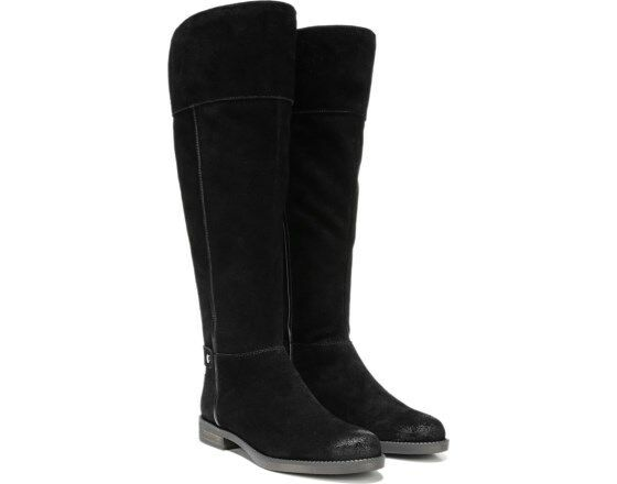Franco Sarto Tall Black Suede Riding Boot Christine NEW SZ 7  Leather Wide Calf