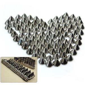 100X-10mm-Kegel-Nieten-Schwarz-Killernieten-Ziernieten-fuer-Schuhe-Guertel-Leder
