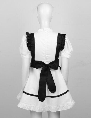 Japanese Halloween Maid Apron Bowknot Skirt Womens Coffee Waitress Dress Costume