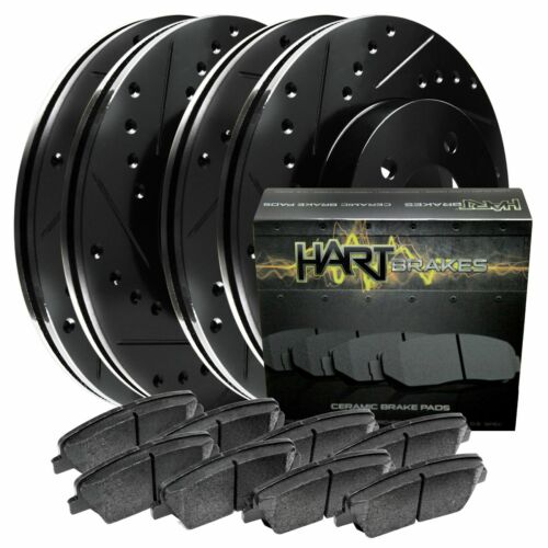 Ceramic Pads C1313 Black Hart *DRILLED /& SLOTTED* Brake Rotors FRONT+REAR KIT