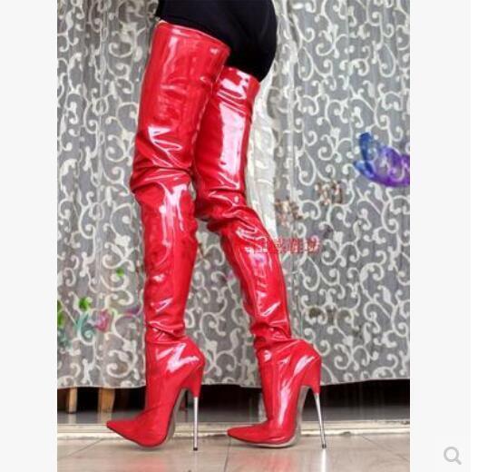 Nueva camiseta para mujer sobre Stiletto Puntera Puntiaguda Charol botas Club nocturno sobre mujer la rodilla del muslo albergue 75845f