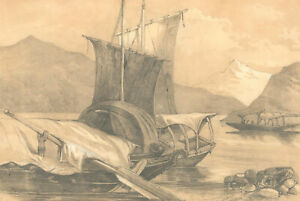 1871 Graphite Drawing - The River in the Mountains
