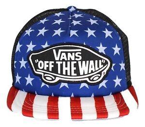 VANS Womens Trucker Hat (NEW) Snapback Cap STARS STRIPES America ... b51fc8e691