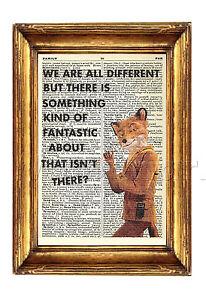 Fantastic Mr Fox Art Print Original Antique Book Page Bonkers Dictionary Quote Ebay