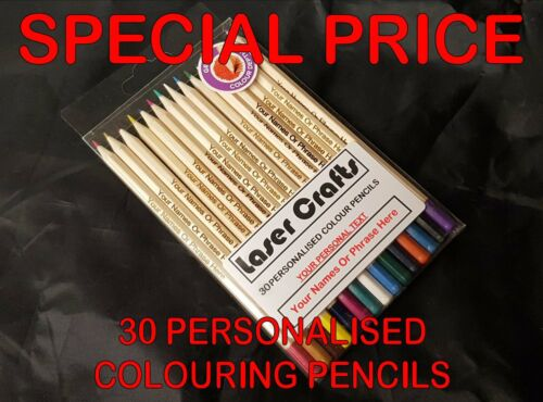 30 Colouring Pencils Personalised With Any Name Centred or Top of Pencil £6.99
