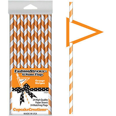 25 Extra long soda bottle Yellow stripe paper drinking straws Stripe See also Personalized flags option. with FREE Blank Flags