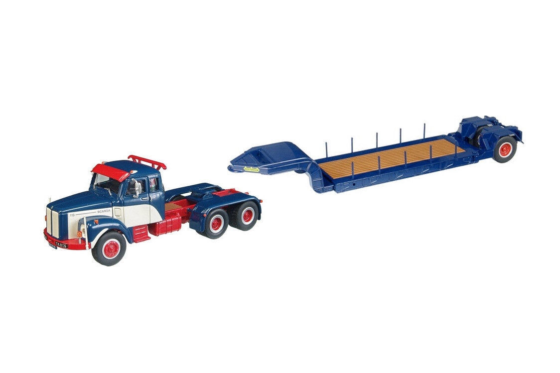 NEW NZG 583-20 Scania LT110 Truck w Nooteboom Trailer - bluee 1 50 Die-cast MIB