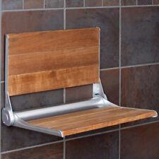 Clevr 18 Serena Folding Shower Bench Seat Teak Wood Bath Medical Wall Mount