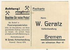 BREMEN W Geratz Kohlenhandlung / Brikett Koks Holz * Bestellkarte um 1920