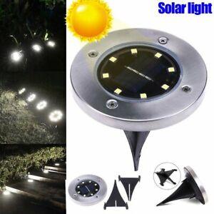 4pz-8-LED-IP55-Lampada-luce-faretto-faro-esterno-energia-solare-sensore-giardino
