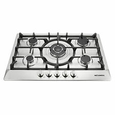 """Brand New 30"""" Stainless Steel 5 Burner Built-In Stoves NG LPG Gas Cooktop Cooker"""