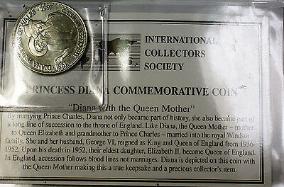 1997 Liberia $5 Diana With Queen Brilliant Uncirculated Commemorative Coin