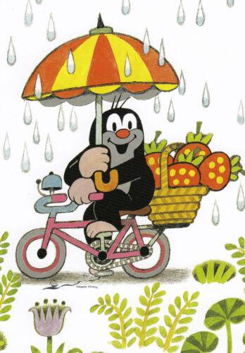 Postkarte// Postcard Der kleine Maulwurf im Regen