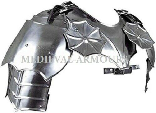 Medieval Gothic~ Gorget Set with Pauldrons Shoulder Guard Chrome One Size Armour